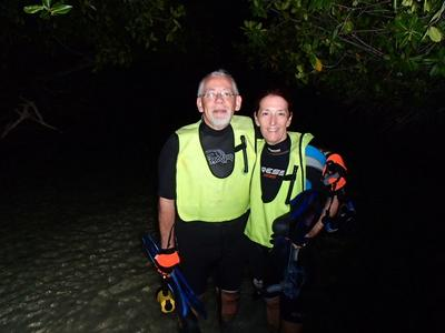 Gary and myself about to enter the water at Mangel Halto via the path between the mangroves