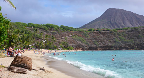 Gorgeous turquoise waters for snorkeling Hanauma Bay